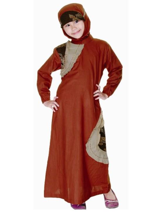 Model baju batik muslim anak fashion Contoh baju gamis anak